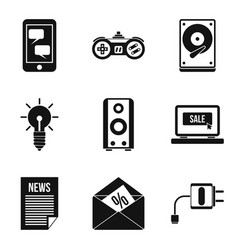 Development of mobile app icons set simple style vector