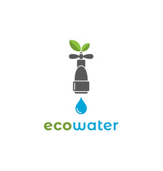 eco water logo with water mixer on background vector image
