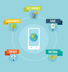 Ecology and mobile phone app flat design concept vector image