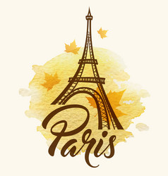 eiffel tower and watercolor blot vector image vector image