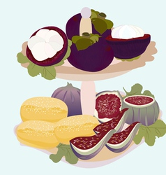 Exotic fruits and biscuits on a plate vector