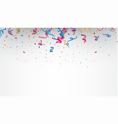 falling colorful confetti and ribbon vector image