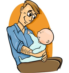 father with baby cartoon vector image