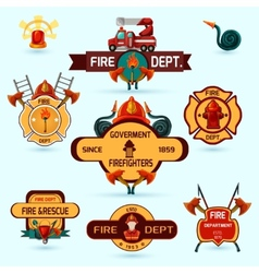 Firefighter Emblems Set vector image