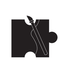 Flat icon in black and white brush puzzle vector