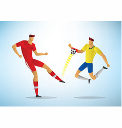 football player foul touches ball with his vector image