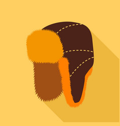 fur hat with ear flaps icon flat style vector image