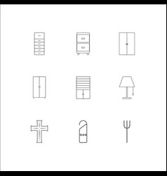 furniture outline icons set vector image