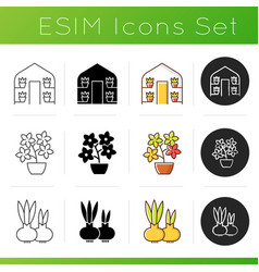 gardening store categories icons set vector image