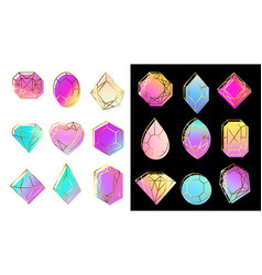 gems with gradients jewelry stone abstract vector image
