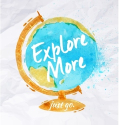 Globe watercolors poster vector image