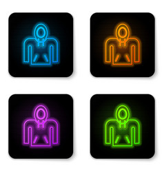 Glowing neon hoodie icon isolated on white vector