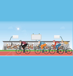 group cyclists man in road bicycle racing vector image