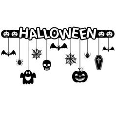 halloween hanging ornaments background vector image