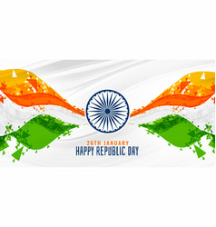 Happy republic day indian abstract flag banner vector