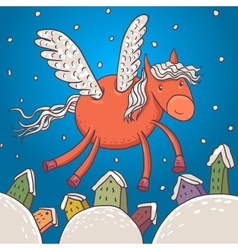 Horse with wings vector