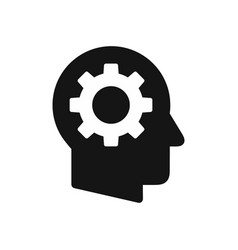 human head profile with gear wheel symbol vector image
