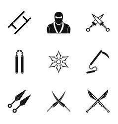 Japanese weapons icons set simple style vector