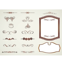 Labels frames and calligraphic elements vector image
