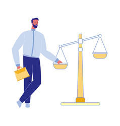 Lawyer with justice scales vector