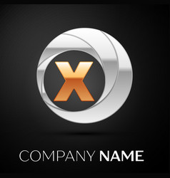 Letter x logo symbol in the golden-silver circle vector
