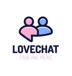 Love chat people dating logo design chat online vector