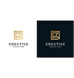 Luxury letter r logo design monogram vector
