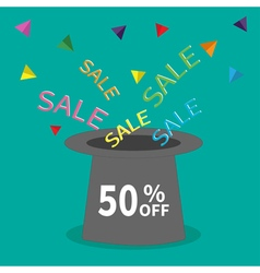 Magic hat 50 off sale background big sale vector