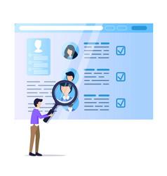 man hold magnifier monitoring social media resume vector image