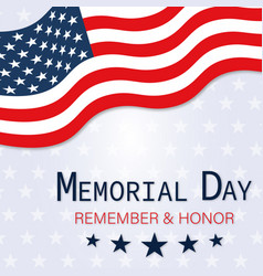 memorial day poster with american flag vector image