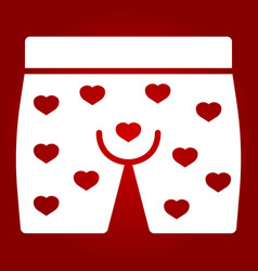 Men underwear with hearts glyph icon vector