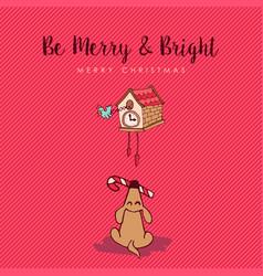merry christmas funny dog cartoon greeting card vector image