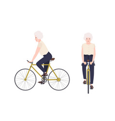 Old woman grandmother or granny riding bike vector