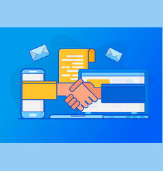 Online deal making signing a contract vector