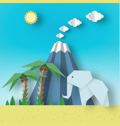 Origami paper concept landscape vector