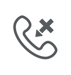 outline handset flat icon set with cross vector image