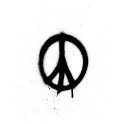 Peace sign graffiti spray in black over white vector