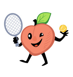 peach playing tennis active lifestyle sportive vector image
