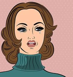 Pop art sad retro woman in comics style with vector