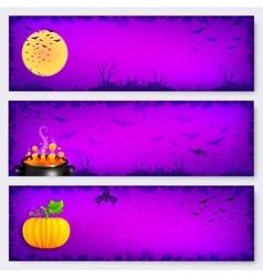 Purple Halloween banners backgrounds set vector image
