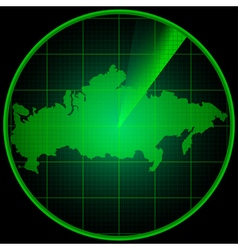 Radar screen with the silhouette of Russia vector image