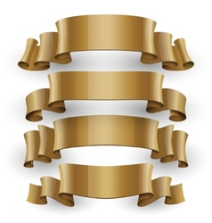 Realistic Gold Glossy ribbons set vector