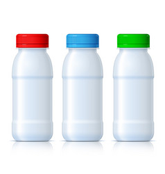 realistic white plastic bottles with red green vector image
