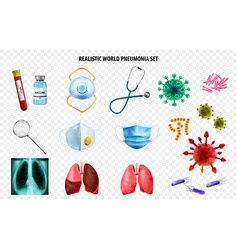 realistic world pneumonia day transparent icon set vector image