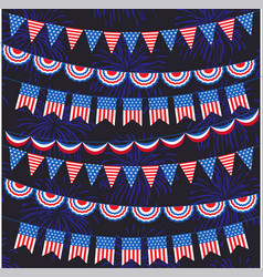 Red white blue bunting and fireworks pattern vector