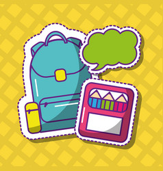 School backpack and crayons bubble speech vector