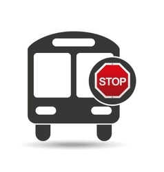 school bus front stop road sign design vector image