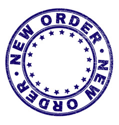 Scratched textured new order round stamp seal vector