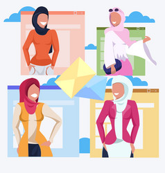 set arab women letter envelope communication vector image