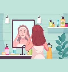 Skincare cartoon composition vector